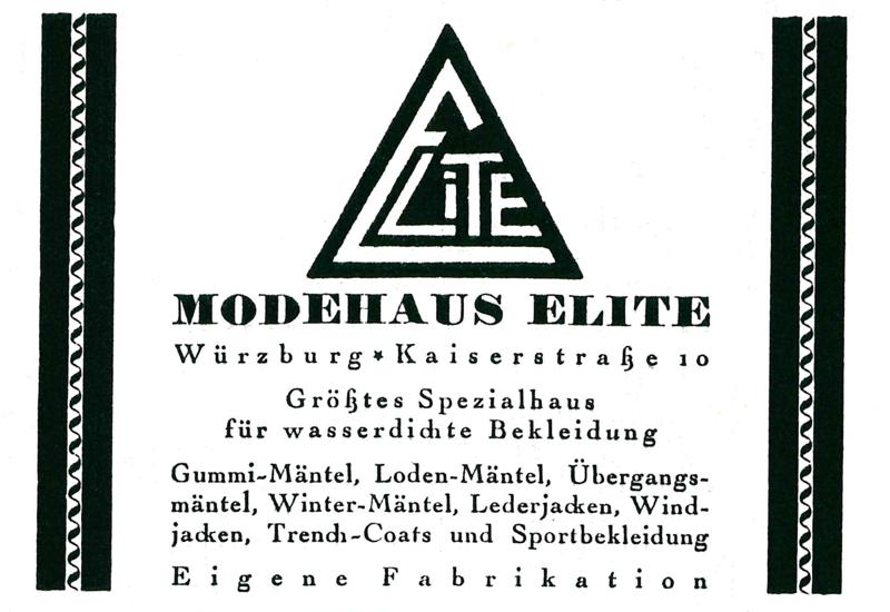 "Modehaus Modehaus ""Elite"" © Gemeindekalender 1929"